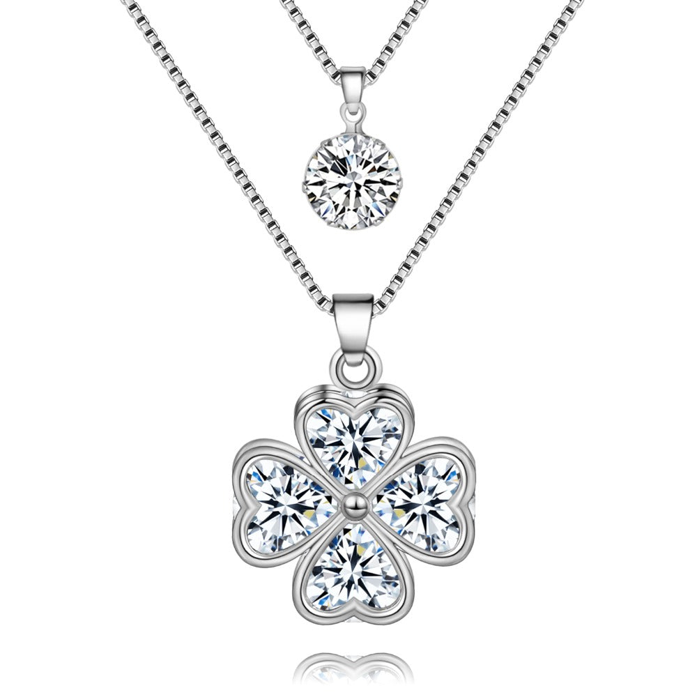 Chain Newest Crystal Hearts Clover Necklace