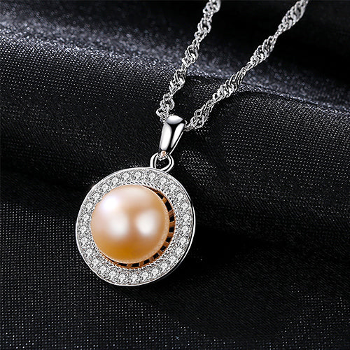 Classic Round Sterling Silver Pendant Necklace