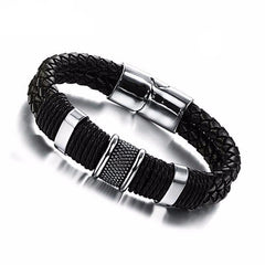 Mens Weave Chain Leather Bracelet For Men