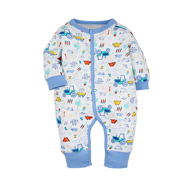 Cartoon Car Long Sleeve Baby Rompers