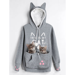 CharMma 2017 New Autumn Winter Warm Plus Size 5XL Cat Holder Pouch Pocket Hoodie Women Casual Oversized Long Hooded Pullover