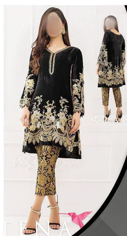 TEENA DURRANI VELVET DRESS BLACK