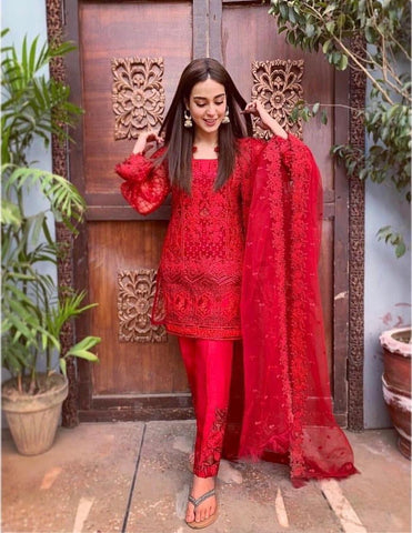 ZAINAB CHOTTANI RED D NO. ZC-3009