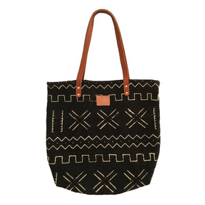 BLACK & WHITE MUDCLOTH FEED BAG