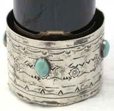 STAMPED NICKEL SILVER WINE COASTER WITH TURQUOISE
