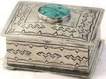 SMALL NICKEL SILVER STAMPED BOX WITH TURQUOISE