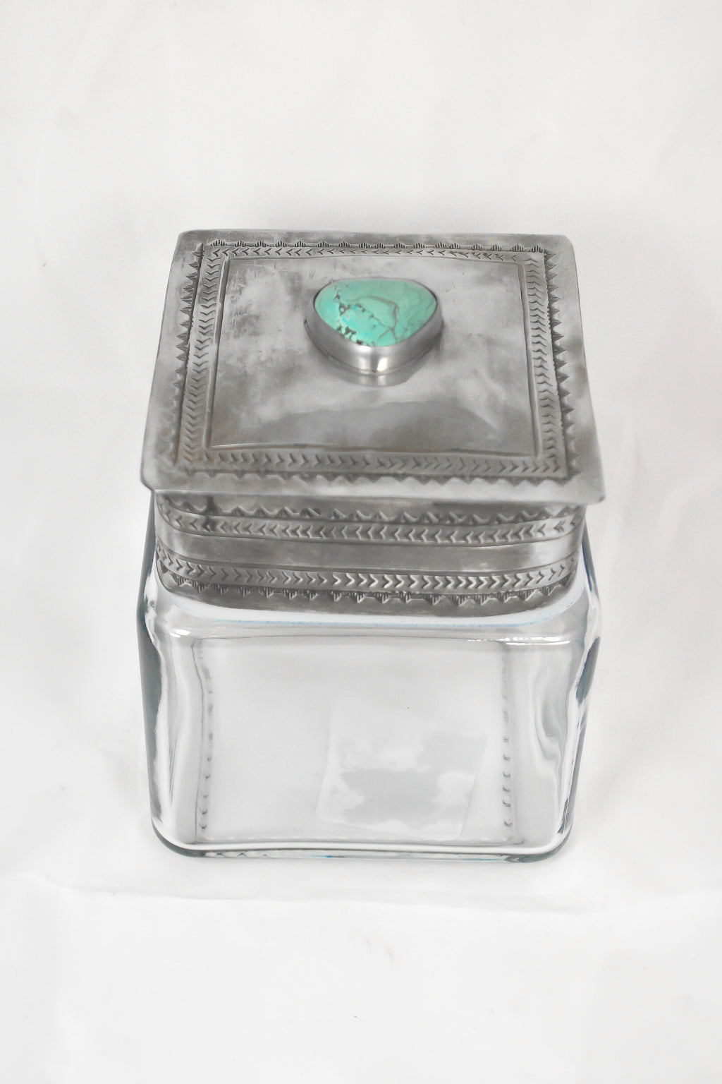STAMPED TURQUOISE LID WITH GLASS CANISTER