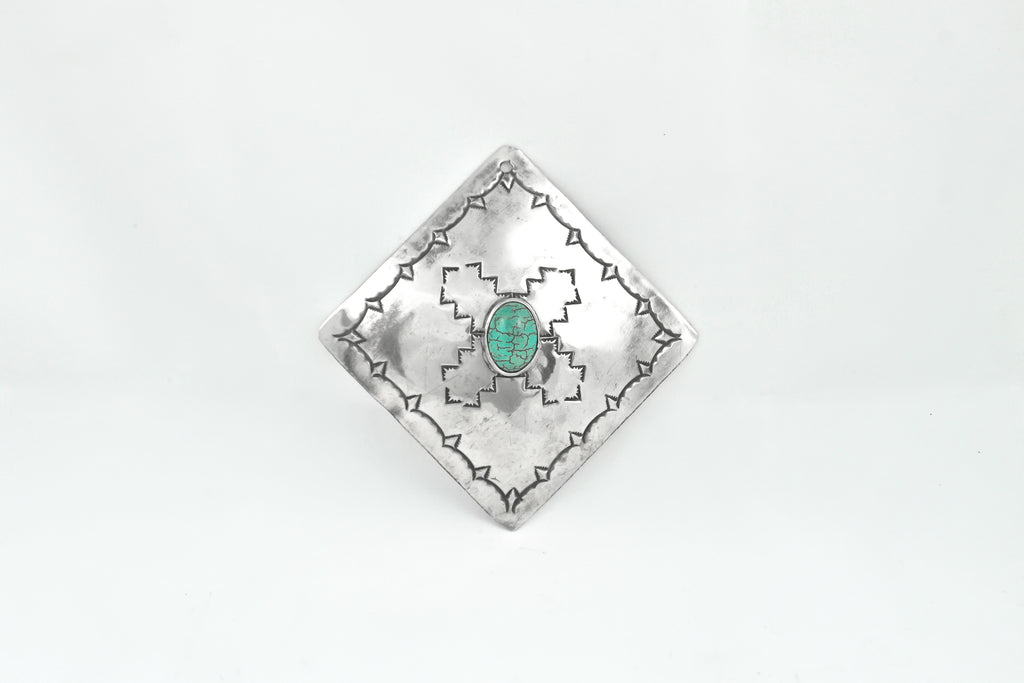 NICKEL SILVER SQUARE WINE ORNAMENT WITH TURQUOISE