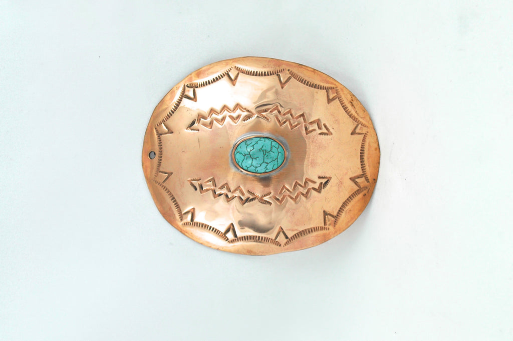 COPPER OVAL WINE ORNAMENT WITH TURQUOISE SILVER