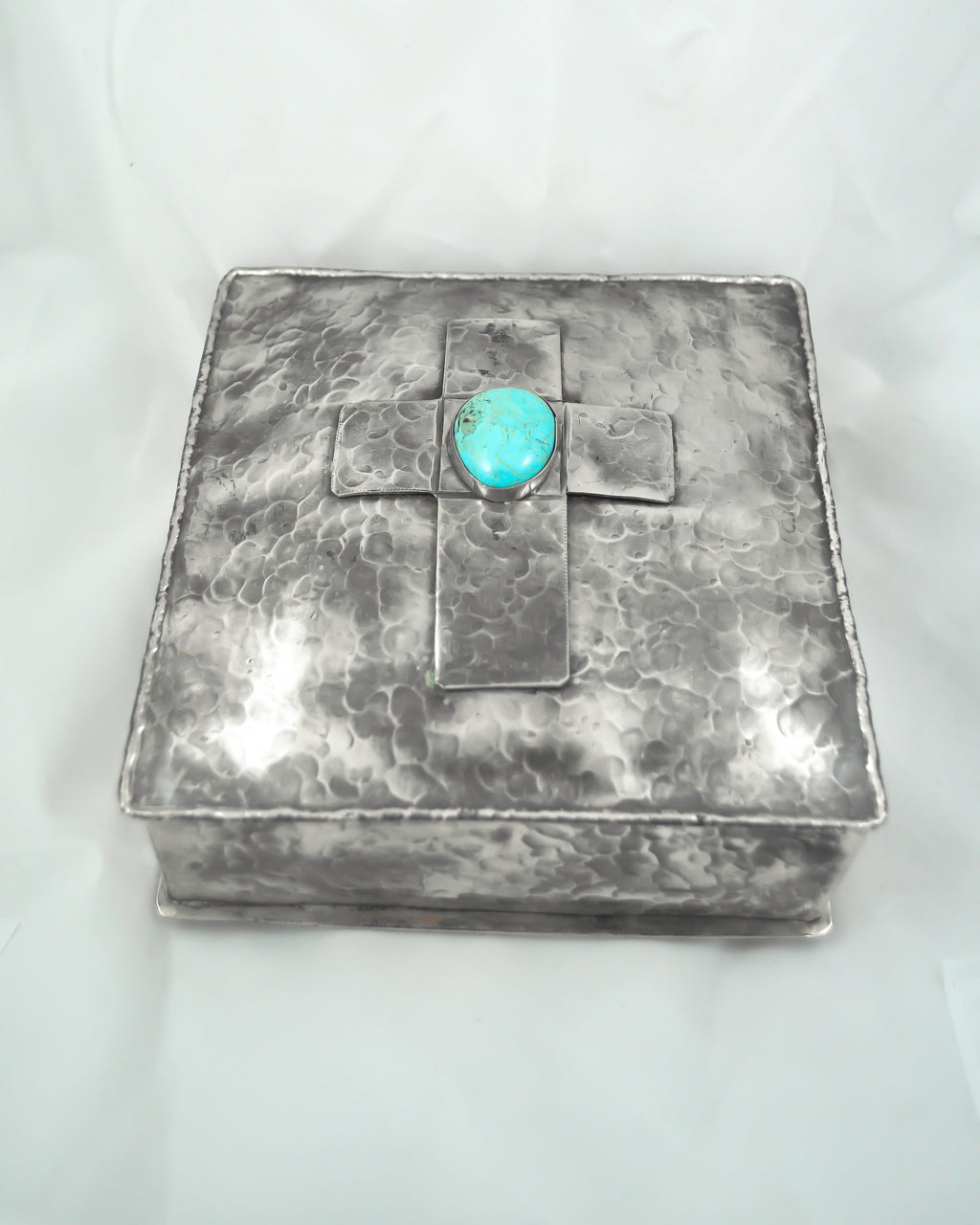 SQUARE NICKEL SILVER BOX WITH DIMPLES AND CROSS