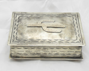 STAMPED NICKEL SILVER BOX WITH CACTUS IRON