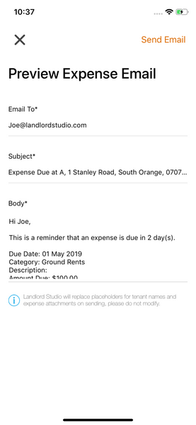 Email expense receipt Landlord Studio App 4