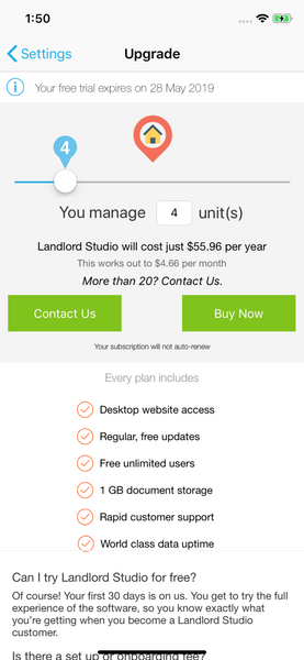 purchase subscription on landlord studio app