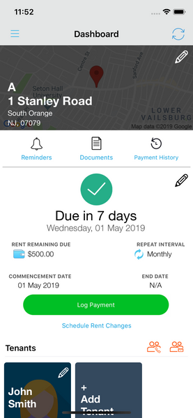 Log Payment Landlord Studio App 1