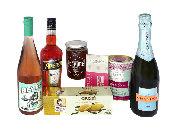 Gift Box 5 - Espumante, Vino, Aperitivo, Chocolate, Galletitas, Miel y Yerba