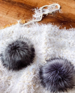 LIMITED EDITION XL Gray and Lilac Fox (Faux Fur) Pompoms
