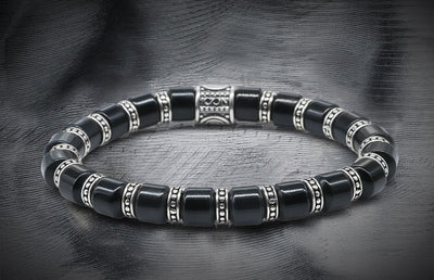 Regal Silver Decorative 19 Rings And Onyx Matt Tubular Beads