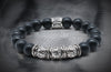 Black Onyx And Triple Silver Bead Band