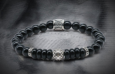 Regal Onyx and Spacy silver Beads