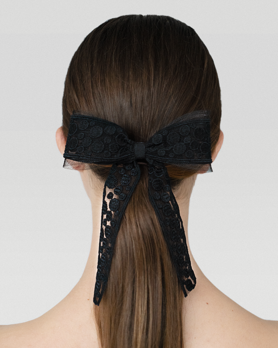 Dot lace hair bow