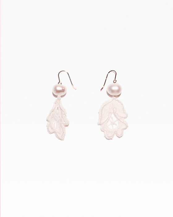 Bud and leaf earrings with freshwater pearls