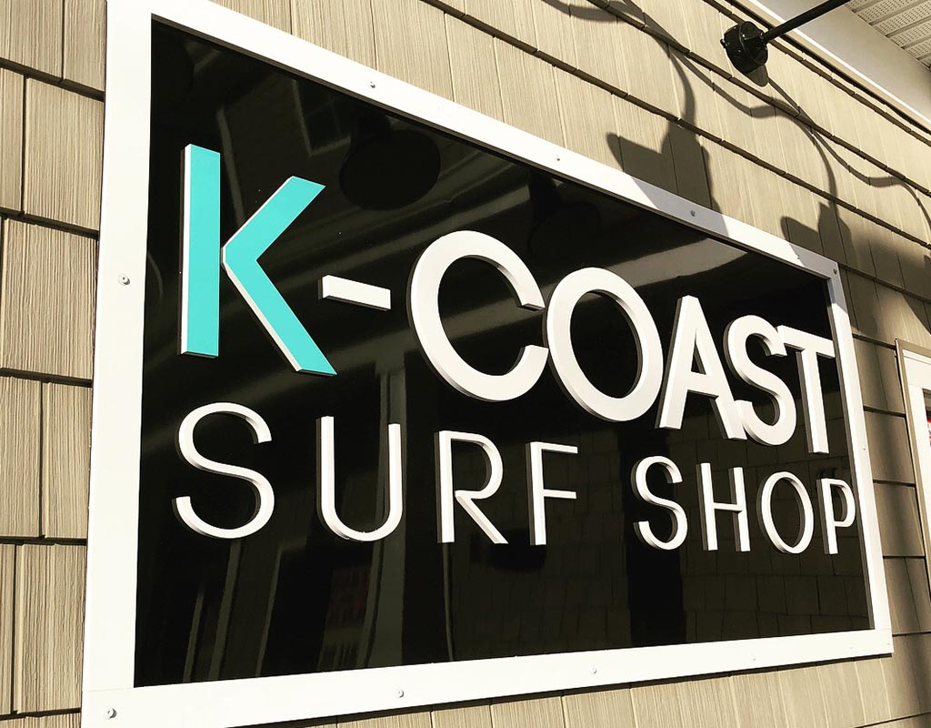 Custom PVC and Aluminum Building Sign for K Coast Surf Shop in Ocean City Maryland