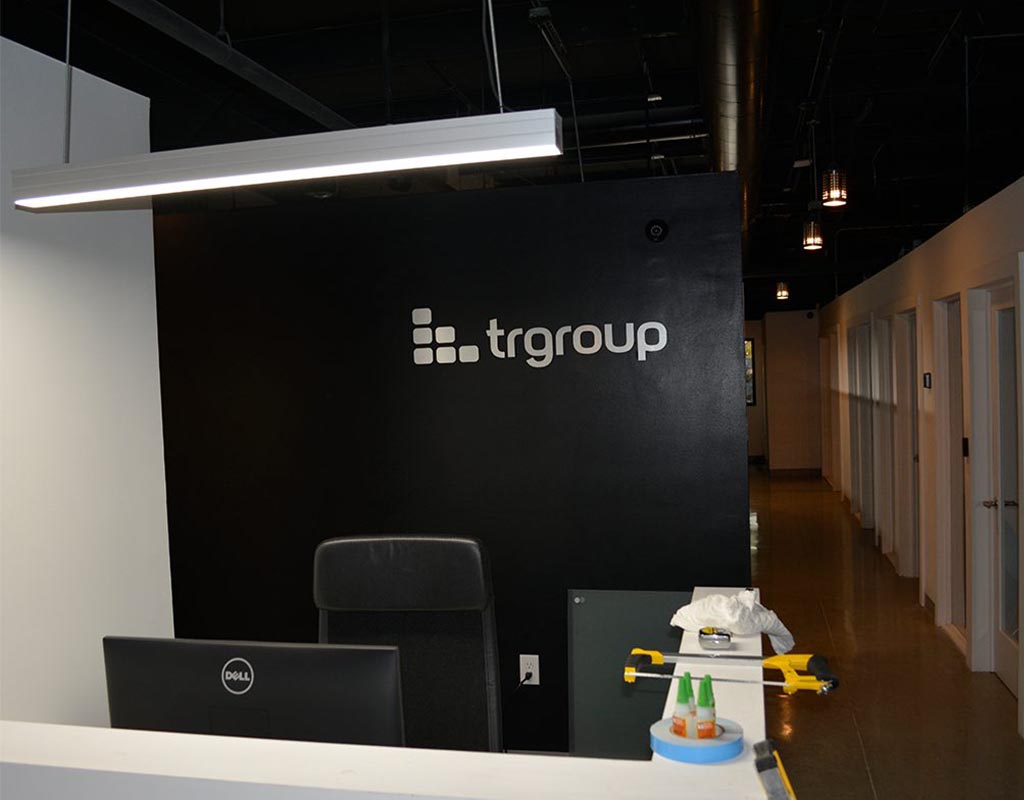 Routed Brushed Aluminum Custom Lobby Sign TRGroup