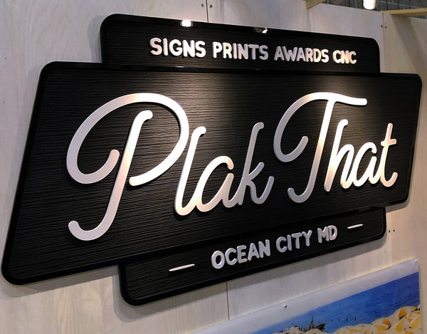 Textured Sand Blasted Sign for Plak That Spring Trade Expo