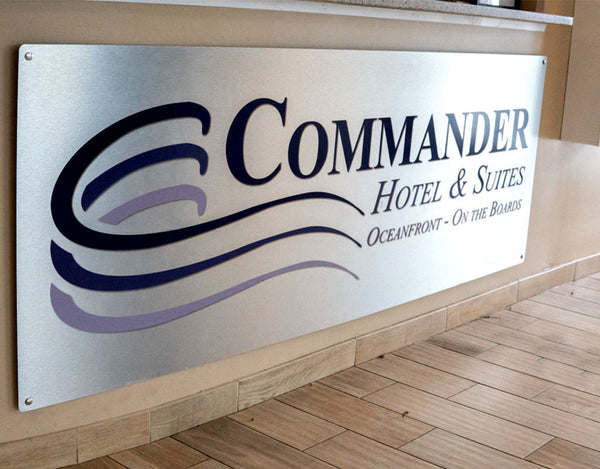 Commander Hotel Brushed Aluminum Custom Commercial Sign and Wood Prints