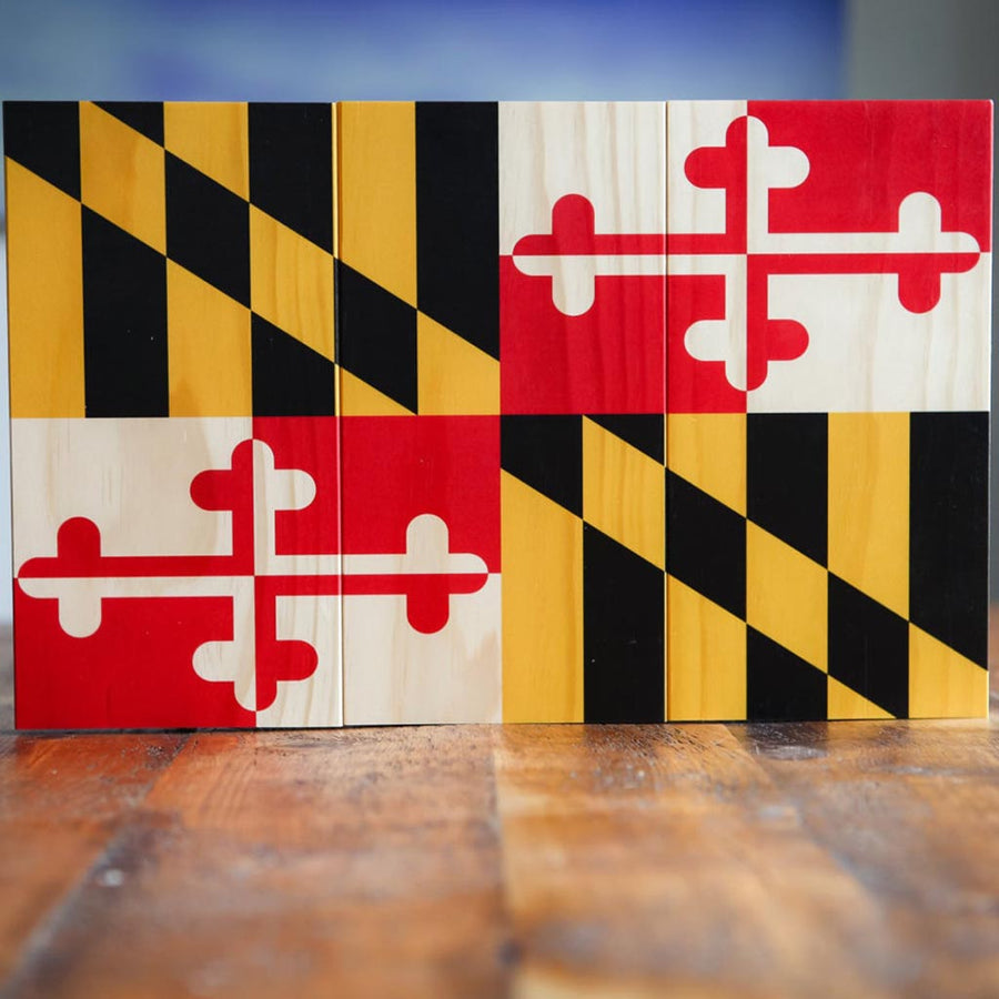 Rustic Maryland Flag Wood Sign