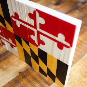 Rustic Maryland Flag Wood Sign - Wooden Signs - Plak That Printing Company