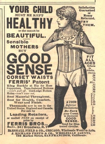 C1890 Corset Advert Ferris Bros. Good Sense Corset Waists