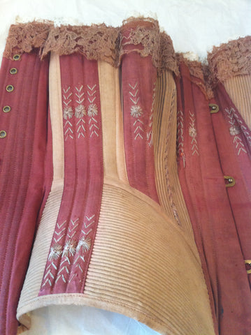 C1870-1879 MAROON AND MUSHROOM CORSET CARROW HOUSE COSTUME AND TEXTILE ARCHIVE NORWICH, UK