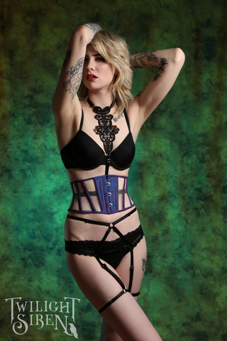 HIGH WAIST ouvert suspender brief lingerie - TWILIGHT SIREN