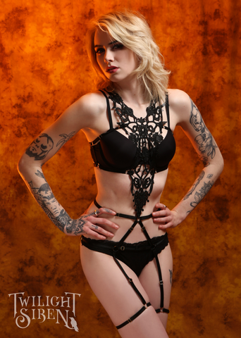 MIMI lace body harness playsuit black Twilight Siren