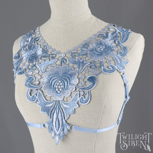 BLUE FLORAL LACE BODY HARNESS BRALET