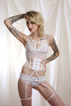 TALIA luxury elastic strap harness bra lingerie white by Twilight Siren
