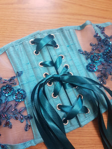 26IN WAIST TEAL ELIZA UNDERBUST CORSET WASPIE (SAMPLE SALE) - TWILIGHT SIREN