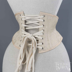 ELIZA BOUQUET COUTIL CORSET BELT (CREAM/ BLACK)