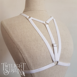 Alice body harness bralet white lingerie - Twilight Siren