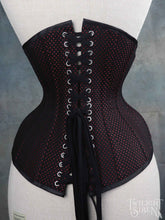 23 INCH WAIST LITA BLACK/RED SPOT BROCHE COUTIL WAIST TRAINING CORSET