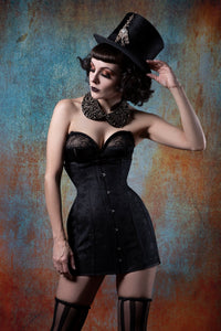 22 INCH WAIST BLACK BOUQUET BROCHE CORSET SKIRT