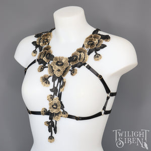 *LAST ONE* FLEUR GOLD LACE BODY HARNESS BRALET SIZE XS/S UK 4-6