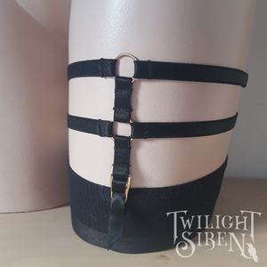 Suspender leg harness garter black -Twilight Siren