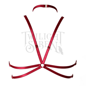 HEXAGRAM body harness bralet luxury elastic lingerie wine by Twilight Siren