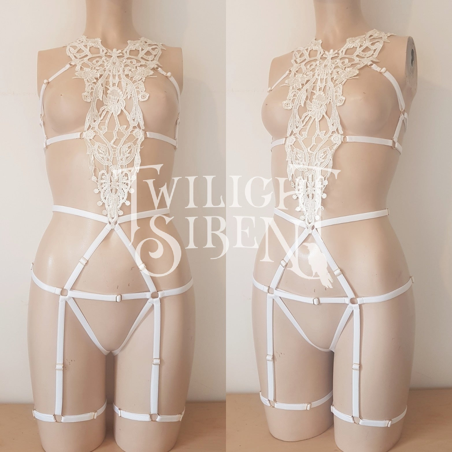 9653f82968f ... MIMI - lace body harness playsuit ouvert brief off white lingerie- Twilight  Siren ...