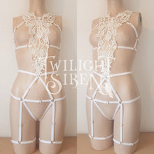 MIMI - lace body harness playsuit ouvert brief off white lingerie- Twilight Siren