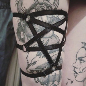 PENTAGRAM luxury elastic strap leg harness garter lingerie black by Twilight Siren