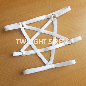 PENTAGRAM luxury elastic strap leg harness garter lingerie white by Twilight Siren