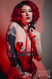 JADE - ouvert playsuit harness red lingerie- Twilight Siren